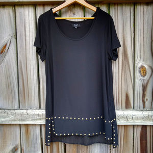 Earl Jeans Black Studded High Low Tunic Top